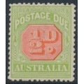 AUSTRALIA - 1913 ½d scarlet/pale yellow-green Postage Due, perf. 12½:12½, crown A watermark, MNH – SG # D76