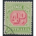 AUSTRALIA - 1909 4d rose-red/green Postage Due, perf. 12½:12, crown A watermark, CTO – SG # D67
