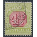 AUSTRALIA - 1922 4d carmine/pale yellow-green Postage Due, perf. 14:14, crown A watermark, used – SG # D96