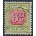 AUSTRALIA - 1938 3d carmine/yellow-green Postage Due, original die, perf. 14½:14, CofA watermark, used – SG # D115