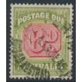 AUSTRALIA - 1938 6d carmine/yellow-green Postage Due, original die, perf. 14½:14, CofA watermark, used – SG # D117