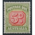 AUSTRALIA - 1948 5d red/deep yellow-green Postage Due, perf. 14½:14, CofA watermark, used – SG # D124