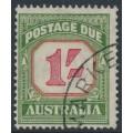 AUSTRALIA - 1954 1/- carmine/deep green Postage Due, CofA watermark, used – SG # D129a