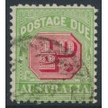 AUSTRALIA - 1914 ½d rose-red/green Postage Due, perf. 11:11, sideways crown A watermark, used – SG # D77a