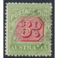 AUSTRALIA - 1909 3d rose-red/green Postage Due, perf. 12½:12, crown A watermark, used – SG # D66