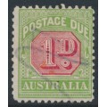 AUSTRALIA - 1914 1d rose-red/green Postage Due, perf. 11:11, inverted crown A watermark, used – SG # D78w