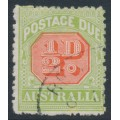 AUSTRALIA - 1913 ½d scarlet/pale yellow-green Postage Due, perf. 12½:12½, crown A watermark, used – SG # D76