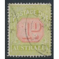 AUSTRALIA - 1918 1d scarlet/pale yellow-green Postage Due, perf. 14:14, used – SG # D80a
