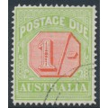 AUSTRALIA - 1923 1/- scarlet/pale green Postage Due, perf. 14, CTO – SG # D85