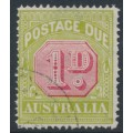 AUSTRALIA - 1922 1d carmine/pale green Postage Due, perf. 14, CTO – SG # D92