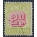 AUSTRALIA - 1922 2d carmine/pale green Postage Due, perf. 14, CTO – SG # D94