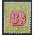 AUSTRALIA - 1922 3d carmine/pale green Postage Due, perf. 14, 'flaw in the value tablet', CTO – SG # D95