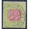 AUSTRALIA - 1922 4d carmine/pale green Postage Due, perf. 14, used – SG # D96
