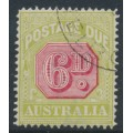 AUSTRALIA - 1922 6d carmine/pale green Postage Due, perf. 14, CTO – SG # D97