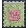 AUSTRALIA - 1931 1d carmine/yellow-green Postage Due, perf. 14, CofA watermark, 'scratch NW of 1', used – ACSC # D144B(VP)d