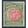 AUSTRALIA - 1958 5d carmine/deep green Postage Due, die I, no watermark, used – SG # D136