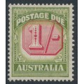AUSTRALIA - 1947 1/- carmine/yellow-green Postage Due, CofA watermark, misplaced value tablet, MH – SG # D128