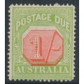 AUSTRALIA - 1923 1/- scarlet/pale green Postage Due, perf. 14, crown A watermark, misplaced value tablet, MH – SG # D85