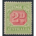 AUSTRALIA - 1909 2d rose-red/green Postage Due [die I], perf. 12½:12, 'white flaw near D', MH – ACSC # D80(VP)j