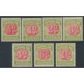 AUSTRALIA - 1938 ½d to 1/- Postage Dues set of 7, original dies, CofA watermark, MH – SG # D112-D118