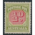 AUSTRALIA - 1938 ½d carmine/green Postage Due, 'break in SE of the octagon', MH – ACSC # D122A(VP)k