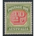 AUSTRALIA - 1938 ½d carmine/green Postage Due, 'scratch through value tablet', MH – ACSC # D122C(VP)qa