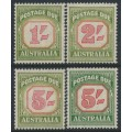 AUSTRALIA - 1953-1959 1/- to 5/- Postage Dues set of 4 (5/- die I & II), CofA watermark, MNH – SG # D129-D131+D131a