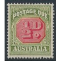 AUSTRALIA - 1938 ½d carmine/green Postage Due, 'white flaw over 1', MH – ACSC # D122
