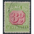 AUSTRALIA - 1922 3d carmine/green Postage Due, p.14, 'white flaw to the right of D', used – ACSC # D109E(VP)d