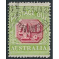 AUSTRALIA - 1921 4d carmine/green Postage Due, sideways crown A watermark, used – SG # D83ba