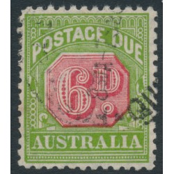 AUSTRALIA - 1936 6d carmine/green Postage Due, perf. 11:11, CofA watermark, used – SG # D110