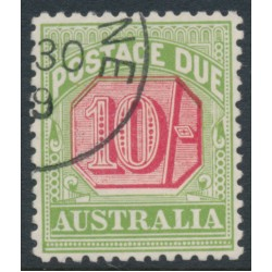 AUSTRALIA - 1909 10/- rose-red/green Postage Due, perf. 12½:12, crown A watermark, CTO – SG # D72