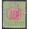 AUSTRALIA - 1909 10/- rose-red/green Postage Due, perf. 12½:12, crown A watermark, used – SG # D72