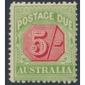 AUSTRALIA - 1909 5/- rose-red/green Postage Due, perf. 12½:12, crown A watermark, MH – SG # D71