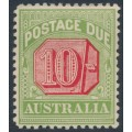 AUSTRALIA - 1909 10/- rose-red/green Postage Due, perf. 12½:12, crown A watermark, MH – SG # D72
