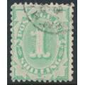 AUSTRALIA - 1902 1/- emerald Postage Due, perf. 12:11, upright watermark, used – SG # D31