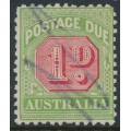 AUSTRALIA - 1914 1d red/green Postage Due, perf. 11, inverted crown A watermark, used – SG # D78w