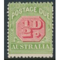 AUSTRALIA - 1909 ½d rose-red/green Postage Due, perf. 12½:12, crown A watermark, MH – SG # D63