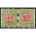 AUSTRALIA - 1909 1d red/green Postage Due, die I & die II, crown A watermark, MH – SG # D64+D64b