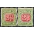 AUSTRALIA - 1909 2d red/green Postage Due, die I & die II, crown A watermark, MH – SG # D65+D65a