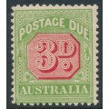 AUSTRALIA - 1909 3d rose-red/green Postage Due, perf. 12½:12, crown A watermark, MH – SG # D66