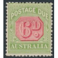 AUSTRALIA - 1909 6d rose-red/green Postage Due, perf. 12½:12, crown A watermark, MH – SG # D68