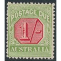 AUSTRALIA - 1909 1/- rose-red/green Postage Due, perf. 12½:12, crown A watermark, MH – SG # D69