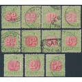 AUSTRALIA - 1909 ½d to 5/- red/green Postage Dues set with both 1d & 2d dies, used – SG # D63-D71