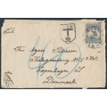 AUSTRALIA - 1918 2½d blue Kangaroo, 3rd watermark, used on an underpaid cover to Denmark