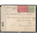 AUSTRALIA - 1918 ½d green & 2x1d brownish red KGV (G75), with 'spot on Y' on cover – ACSC # 65C+72N(2)m