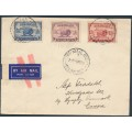 AUSTRALIA - 1935 2d to 9d Macarthur set of 3 on a jusqu'à airmail cover to Denmark