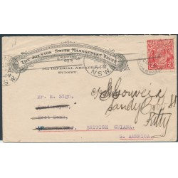 AUSTRALIA - 1922 2d red KGV Head on an advertising cover to British Guiana – ACSC # 96C