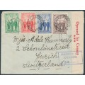 AUSTRALIA - 1940 1d to 6d AIF set of 4 on a cover to Switzerland – ACSC # 218-221