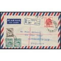 AUSTRALIA - 1961 registered airmail cover to the UK, franking = 4/3 – ACSC # 350+360+372